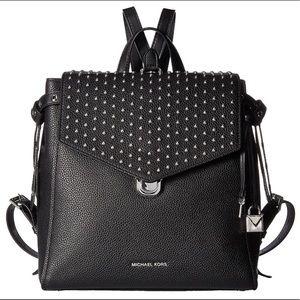 Michael Kors Backpack Black Leather, Silver-Studs